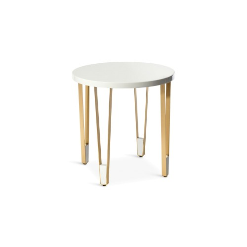 Ionic Side Table - Round - Light Grey Lacquered