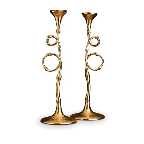 Set of 2 Gold Evoca Candlesticks
