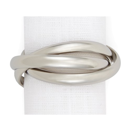 Set of 4 Triple Ring Napkin Jewels - Platinum
