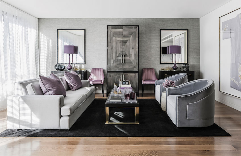 Pink and grey Living Room Colour Palettes - Lounge Colour Schemes & Colour Combination ideas – LuxDeco Style Guide