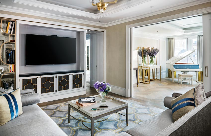 The Langham Hotel London's Sterling Suite - Media room - LuxDeco Style Guide