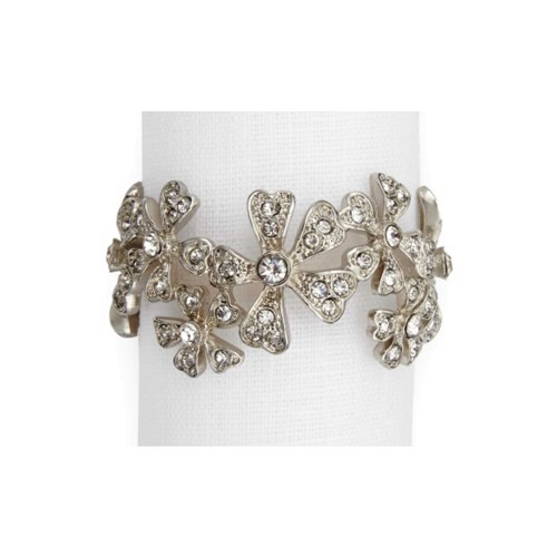 Set of 4 Garland Napkin Jewels - Platinum