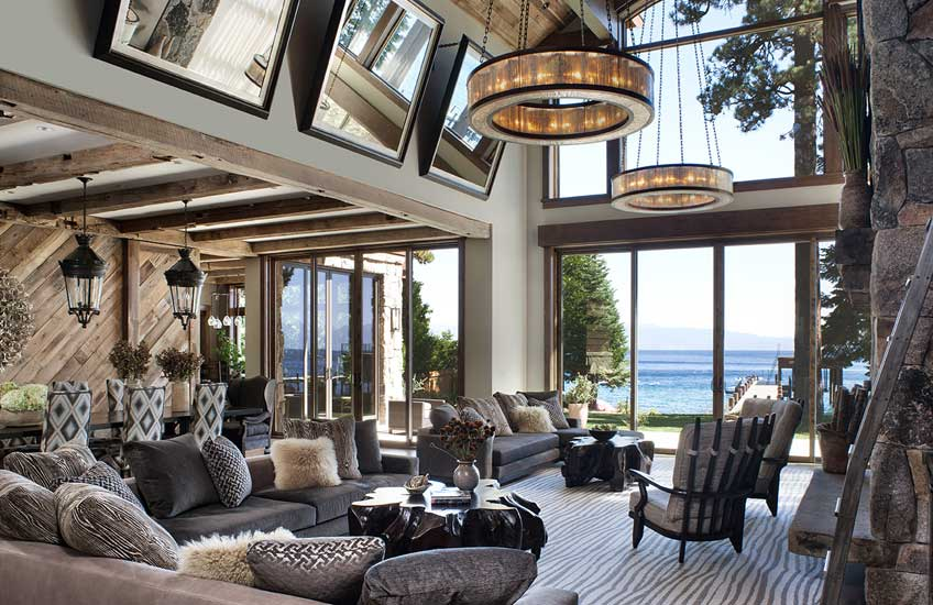 Jeff Andrews Lake Tahoe Cabin Interior Design – Cabin Living Room Style –LuxDeco.com Style Guide