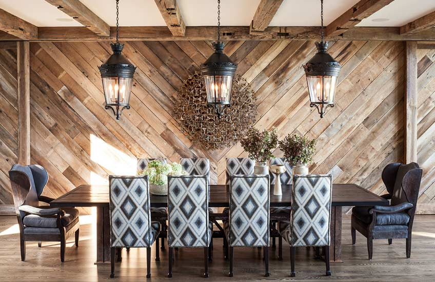 Jeff Andrews Lake Tahoe Cabin Interior Design – Cabin Dining Room –LuxDeco.com Style Guide