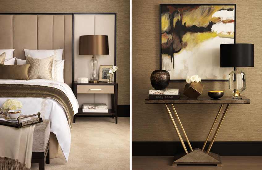 Tailored Penthouse collection – Beige Bedroom Inspiration – Chic Hallway Inspiration – Shop at LuxDeco.com