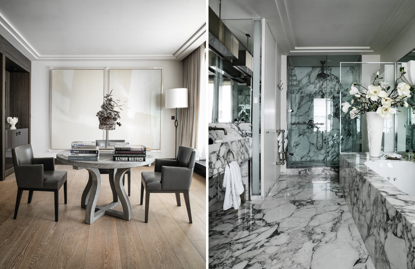 Timeless Design Fundamentals – Gilles & Boissier – Timeless Dining Room:Marble Bathroom – LuxDeco.com Style Guide