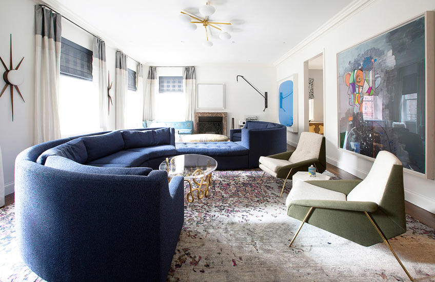 Unique Area Rugs – Fawn Galli Interiors, Upper East Side living room – LuxDeco.com Style Guide