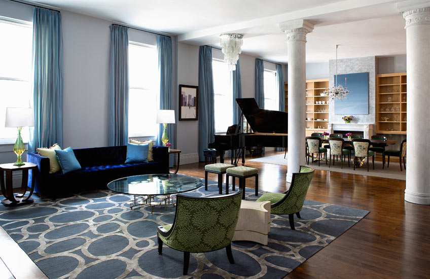 Unique Area Rugs – Fawn Galli Interiors, Flat Iron District living room – LuxDeco.com Style Guide