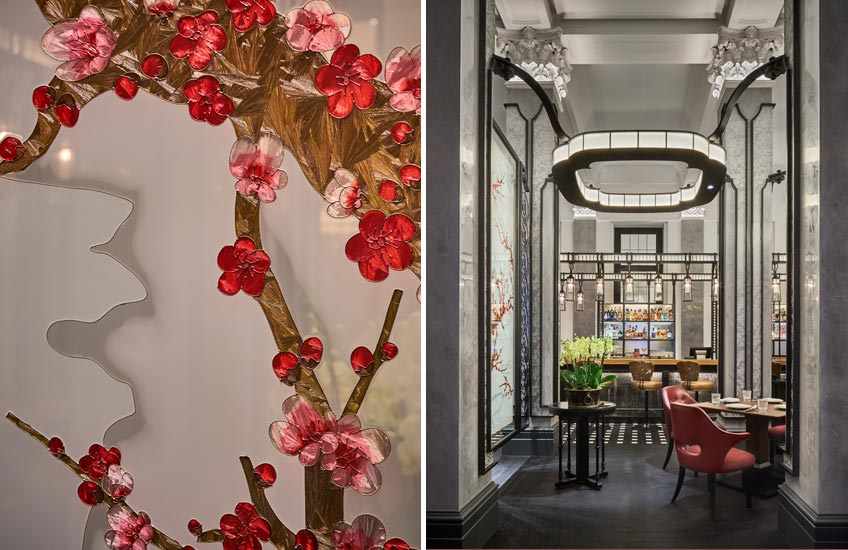 Mei Ume restaurant – Four Seasons Hotel London at Ten Trinity Square – Enamel Screen – LuxDeco.com Style Guide