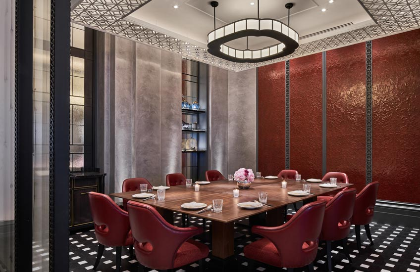 Mei Ume restaurant – Four Seasons Hotel London at Ten Trinity Square – Private Dining Room – LuxDeco.com Style Guide