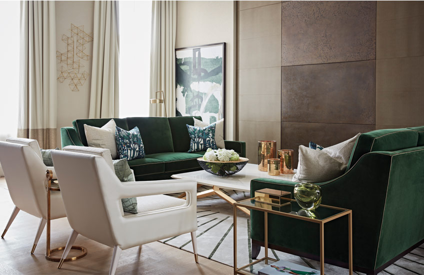 Green and gold homeware and furniture – Shop green and gold homeware at LuxDeco.com – Interior by Taylor Howes