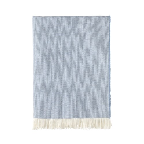 Extra Fine Merino Herringbone Throw Blue