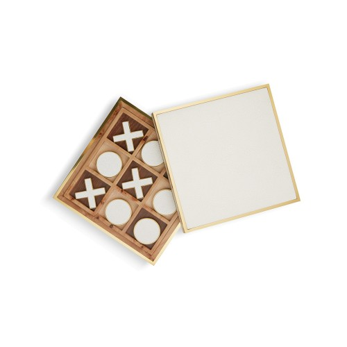 Cream Shagreen Tic-Tac-Toe Set