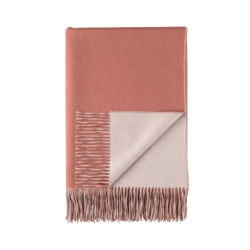 Cashmere Reversible Throw Dark Coral