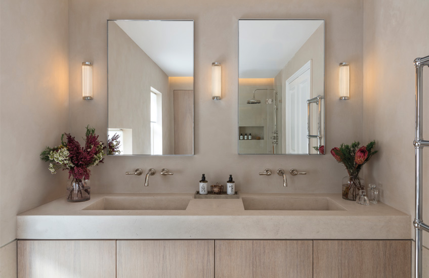 How To Create A Healthy Home For The New Year – Modern bathroom design – Echlin Levenston House – Read more in the LuxDeco.com Style Guide