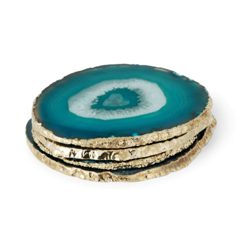Set of 4 Teal Agate Coasters