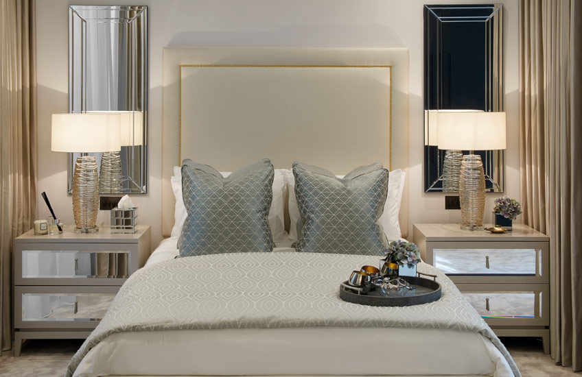 Celine Estates | Neutral Bedroom | Shop the Walton mirrored bedside tables at LuxDeco.com