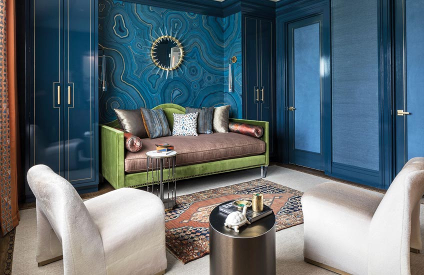 Rajni Alex Living Room | Green and Blue Living Room ideas | Read more in the LuxDeco.com Style Guide