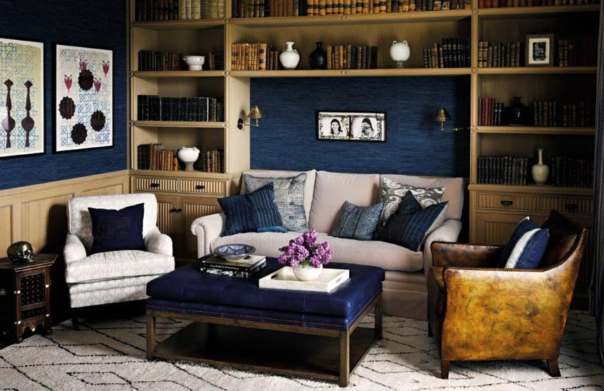 Martyn Lawrence Bullard Living Room | Blue Living Room Ideas | Read more in the LuxDeco.com Style Guide