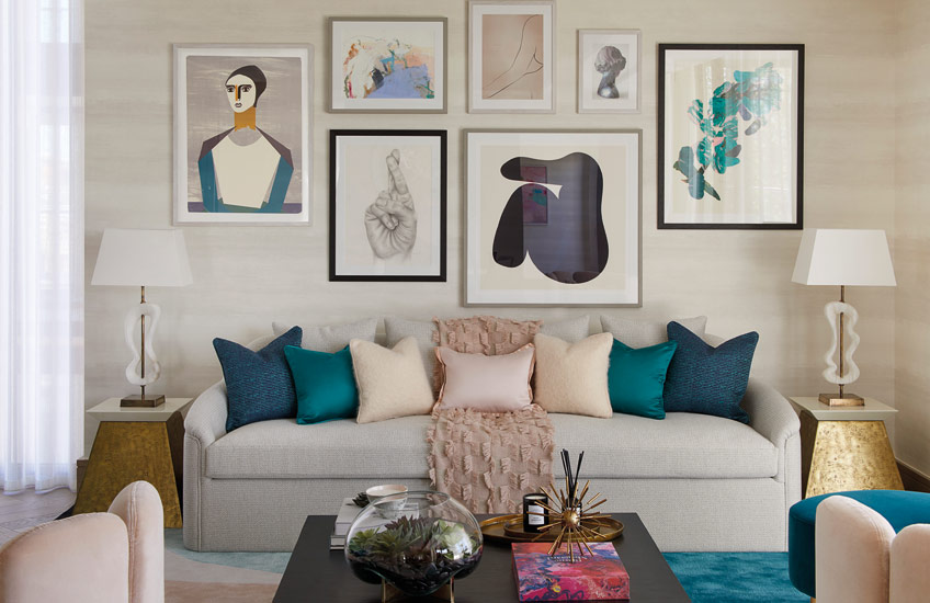 Popular Living Room Wall Decor | Gallery Walls | Fun Living Room by Elicyon | Find more inspiration in the LuxDeco.com Style Guide