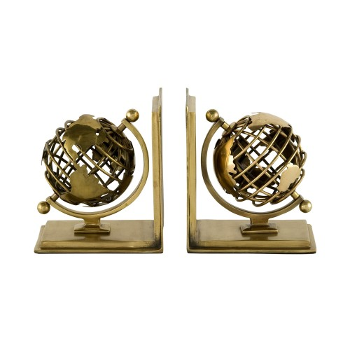 Set of 2 Globe Bookends - Brass