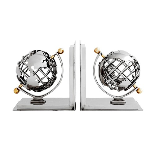 Set of 2 Globe Bookends - Nickel