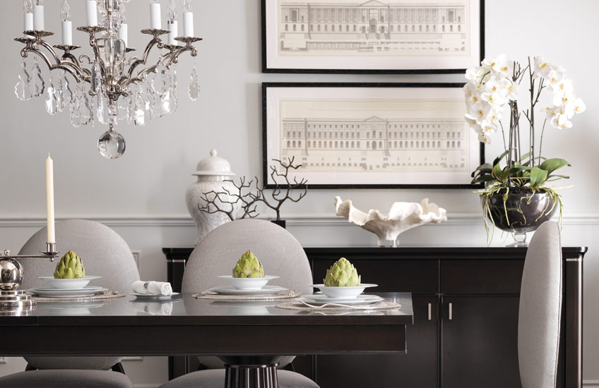 Beautiful Faux Flowers For Your Living Room | Elegant Dining Room | Read more in the LuxDeco Style Guide