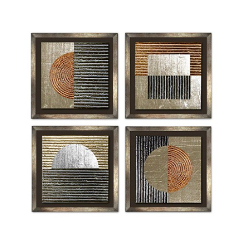 Set of 4 Circles & Squares Wall Art