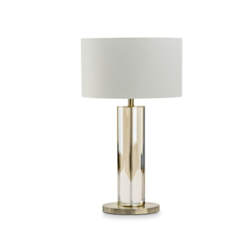 Cognac Crystal Antique Brass Table Lamp