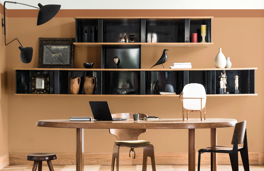 Dulux Colour of the Year | Spiced Honey Home Office | Read more in the LuxDeco Style Guide