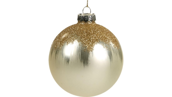GLASS GLITTER PAINTED Christmas Tree bauble - Xmas tree Christmas decoration ornament - LuxDeco.com