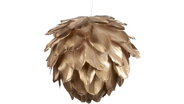 Golden Feather Christmas Tree bauble - Xmas tree Christmas decoration ornament - LuxDeco.com