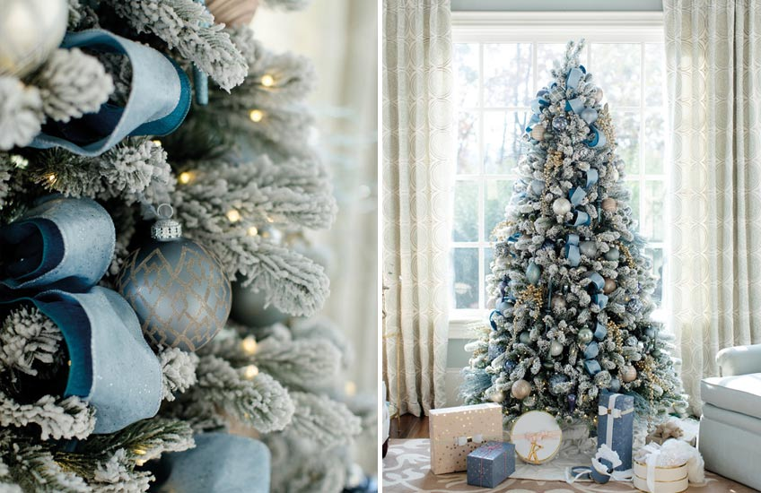 Christmas Colour Schemes |  Blue Christmas Decor | Decorating by Revamped; Photography by Sara D. Harper | LuxDeco.com