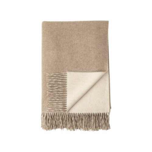 Cashmere Reversible Throw Light Brown
