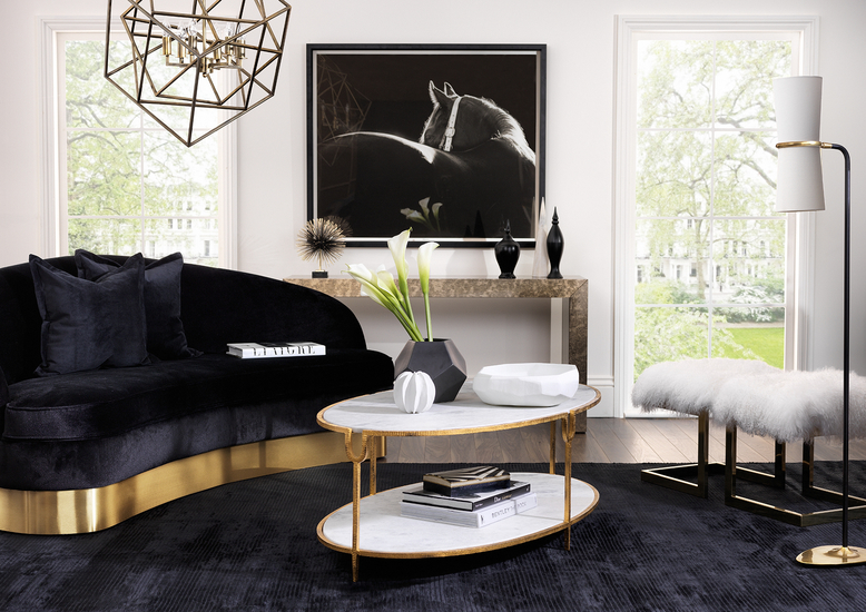 Black Living Room Ideas _ Black and White Colour Scheme _ Read more in the LuxDeco.com Style Guide
