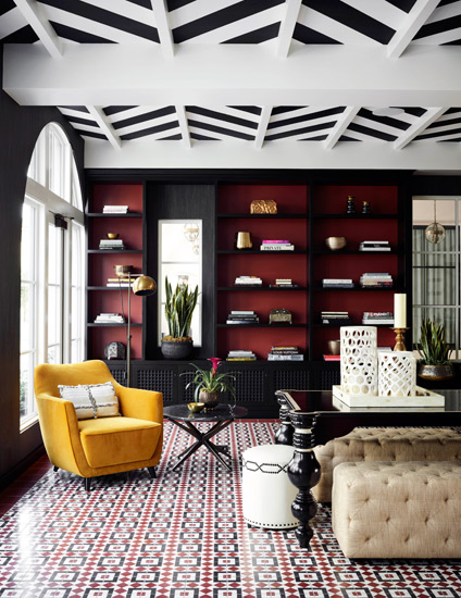 Black Living Room Ideas _ Martyn Lawrence Bullard _ Black and Red Living Room _ Read more in the LuxDeco.com Style Guide
