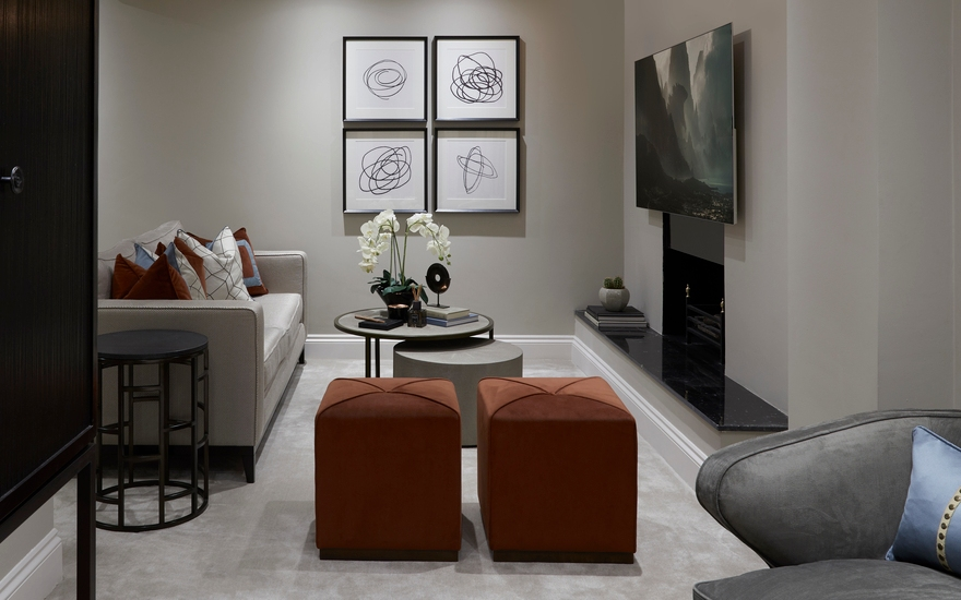 Alexander Square Basement TV Room - Interior Design Service Project - LuxDeco.com Style Guide